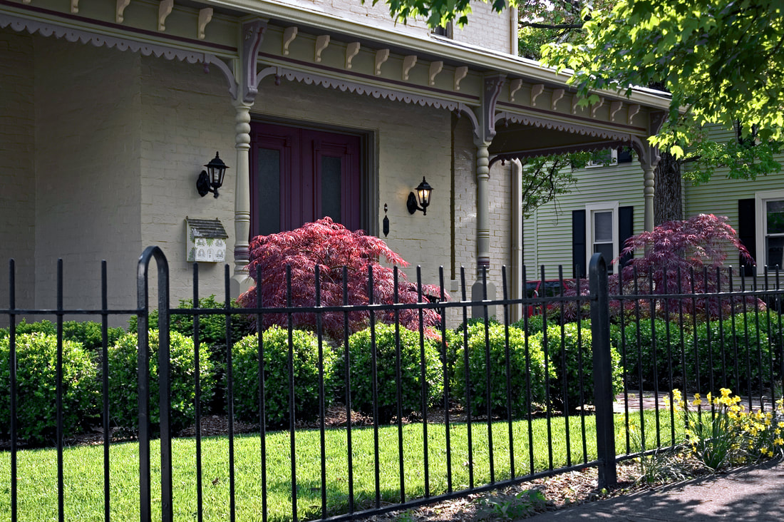 nicely built ornamental fence that is black in color